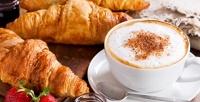 <b>Скидка до 52%.</b> Чай или кофе исэндвич, десерт навыбор вкофейне Caffeshop