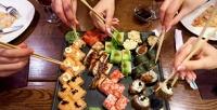 Все суши, роллы ипицца без ограничения суммы чека вкараоке-баре 2Bсоскидкой 50%
