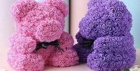 <b>Скидка 90%.</b> Мишка изфоамирановых 3D-роз высотой 40см вподарочной упаковке споздравительной открыткой (1425руб. вместо 14250руб.)