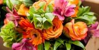 <b>Скидка до 89%.</b> Букет изгербер, тюльпанов, орхидей, хризантем, альстромерий, ирисов, роз, кустовых роз или розы вшляпной коробке