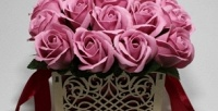 <b>Скидка до 34%.</b> Букет ароматных вечных роз измыла ручной работы вподарочной коробке навыбор
