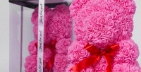 <b>Скидка до 50%.</b> Медведь изобъемных фоамирановых роз срасцветкой вкоробке или без навыбор