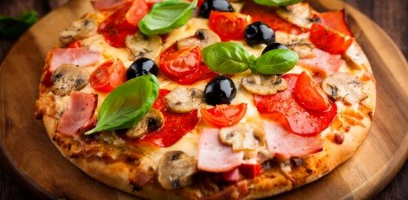 Пицца, бургер или пирог отслужбы доставки «Виорд» заполцены