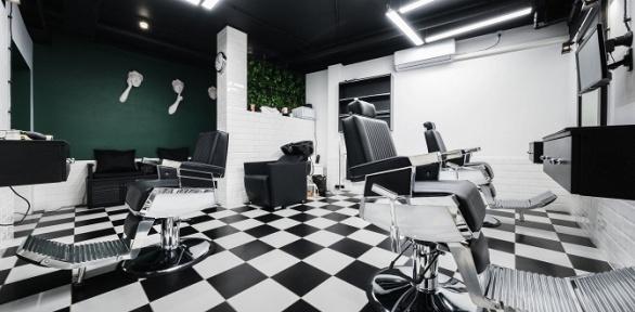 Мужская стрижка имоделирование бороды впремиум-барбершопе Skullatov