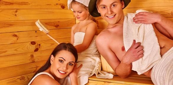 Посещение сауны или бани надровах скомнатой отдыха вГД«Северное сияние»