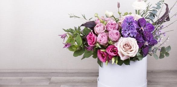 Букет, композиция изорхидей, роз, тюльпанов, гвоздик