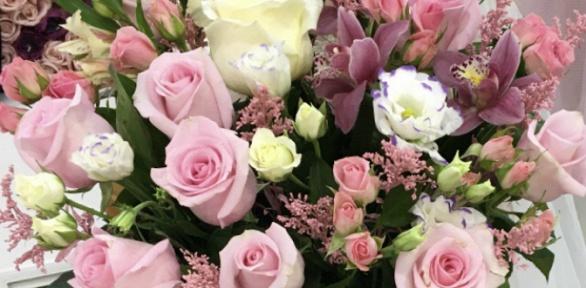 Букет изроз или цветочная композиция вшляпной коробке