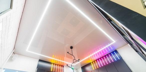 Изготовление имонтаж бесшовного или двухуровневого натяжного потолка