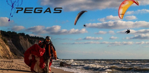 Полет напараплане над побережьем Балтийского моря отклуба Pegas
