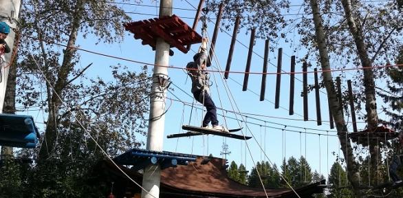 Посещение аттракционов ипрохождение веревочного парка впарке Monkey Park