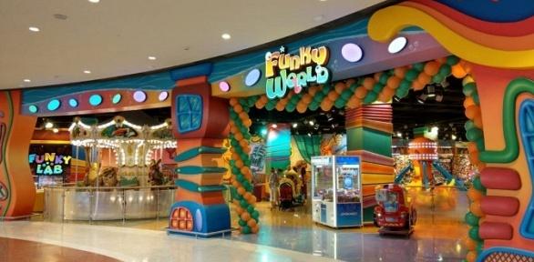Посещение игровой площадки всемейном парке Funky World