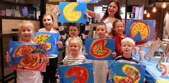 Посещение детской арт-вечеринки спиццей инапитком откомпании ArtistNight