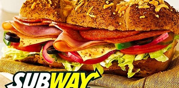 Сэндвичи, роллы или салаты всети ресторанов Subway заполцены