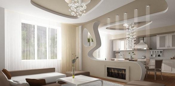 Изготовление имонтаж натяжного потолка общей площадью до40кв.м
