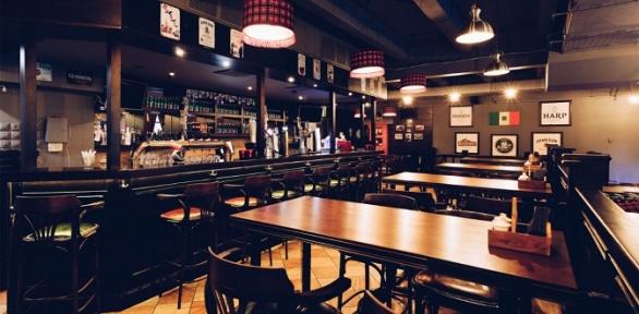 Меню инапитки впивном ресторане Leinster Pub заполцены