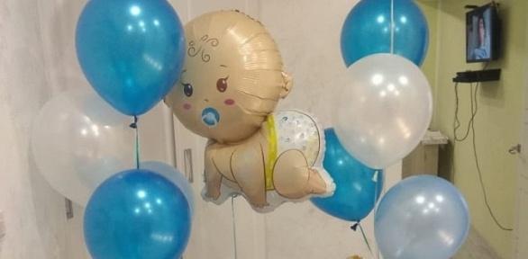 Композиция извоздушных шаров, поздравление