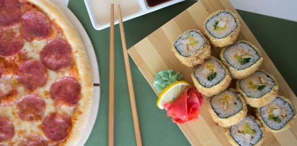 Доставка пиццы, японского сета или роллов отслужбы «Вкуснотека»